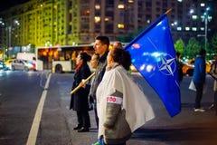 100 dagar av protesten, Bucharest, Rumänien Arkivfoto