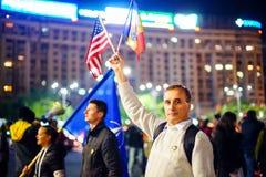 100 dagar av protesten, Bucharest, Rumänien Fotografering för Bildbyråer