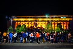 93 dagar av protester i Bucharest, Rumänien Royaltyfri Fotografi