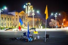 50 dagar av romanian protester, Bucharest, Rumänien Arkivbilder