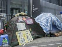 123 dagar av upptar område - paraplyrevolutionen, Amiralitetet, Hong Kong Arkivfoto