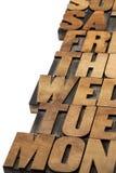 Dagar av veckaabstrakt begrepp Arkivfoto