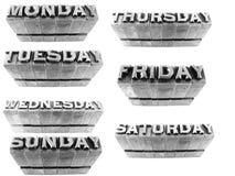 Dagar av veckan bildade med metalliska bokstäver Royaltyfria Foton