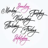 Dagar av veckan. Kalligrafi. Arkivfoto