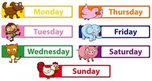 Dagar av veckan med djur på tecknet royaltyfri illustrationer
