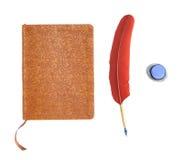 Dagboek met de Pen en de Inkt van de Veer Stock Foto's
