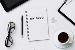 Dagbok med min blogg och tillbehör Royaltyfri Foto