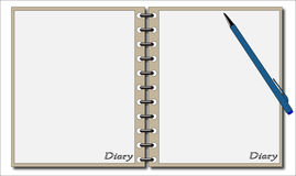 Dagbok med pennan Arkivfoto