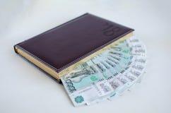 Dagbok och sedlar på vit bakgrund royaltyfri bild