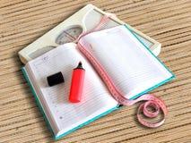 Dagboken som förlorar, väger kvinnor Arkivfoton