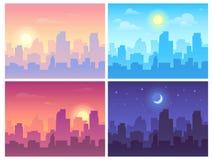 Dagcityscape Ochtend, dag en nacht het landschap van de stadshorizon, stadsgebouwen in verschillende tijd en stedelijke vector vector illustratie