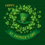 Dagdesign för St Patricks av hatt- och växt av släktet Trifoliumsidor på trä royaltyfri illustrationer