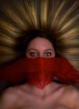 Dagdrömma gåtakvinnan Arkivfoton