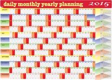 Dagelijks maandelijks jaarlijks de Kalender van 2015 Planningsgrafiek stock illustratie