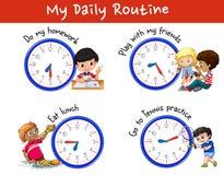 Dagelijks werk van vele kinderen met klokken royalty-vrije illustratie