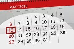 Dagelijkse bedrijfskalenderpagina 2018 13 Mei Stock Afbeeldingen