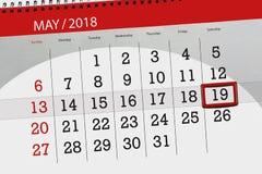 Dagelijkse bedrijfskalenderpagina 2018 19 Mei Royalty-vrije Stock Fotografie