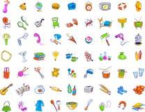 Dagelijkse Objecten Pictogrammen Stock Foto's