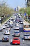 Dagelijkse opstopping in van Bedrijfs Peking Centraal District, China Stock Afbeelding