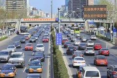 Dagelijkse opstopping in van Bedrijfs Peking Centraal District, China Stock Afbeeldingen