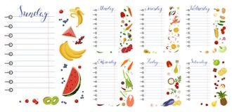 Dagelijkse voedselagenda met gezond voedsel vector illustratie