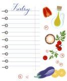 Dagelijkse voedselagenda met gezond voedsel stock illustratie