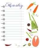 Dagelijkse voedselagenda met gezond voedsel royalty-vrije illustratie