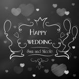 Dagen av bröllopet lyckliga nygift person Ram med inskriften Arkivfoton