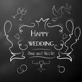 Dagen av bröllopet lyckliga nygift person Ram med inskriften Royaltyfri Bild