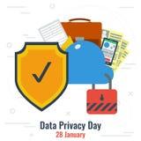 Dagen för dataavskildhet och säkrar molnlagring stock illustrationer