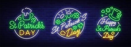 Dagen för St Patricks är samlingen av neontecken Teckensamling, logo med öl, neonbaner, livlig design i neon royaltyfri illustrationer