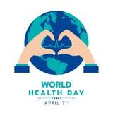 Dagen för världshälsa med cirkeljordord och handdanande undertecknar design för hjärta- och hjärtavågteckenvektor Royaltyfri Bild