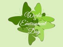 Dagen för världsmiljön, fjärilar på bakgrunden av härlig bokstäver med skugga, miljödagen, miljö, går gräsplan royaltyfri illustrationer