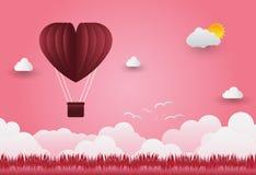 Dagen för valentin` s sväller i hjärta format flyga över gräs tävlar Arkivbild