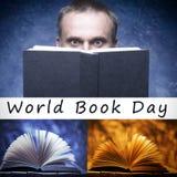 Dagen för satsvärldsboken som firas varje år på April 23, bokar på träbakgrund Vita mannen döljer hans framsida bak en bok stu Royaltyfria Foton