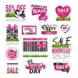 Dagen Sale för kvinnor för den fastställda mallen för tecken för det speciala erbjudandet förser med märke den internationella de Fotografering för Bildbyråer
