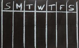 Dagen van de week op een kalender stock foto