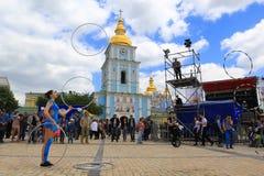 Dagen van het festival van Europa in Kiev, de Oekraïne Stock Foto's