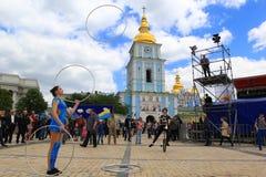 Dagen van het festival van Europa in Kiev, de Oekraïne Royalty-vrije Stock Fotografie