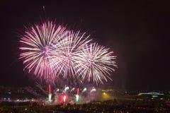 Dagen van vuurwerk in Zagreb royalty-vrije stock foto's