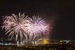 Dagen van vuurwerk in Zagreb stock afbeelding