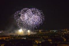 Dagen van vuurwerk in Zagreb royalty-vrije stock afbeelding
