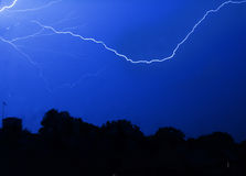 Dagenham Lightning. The skies of Dagenham split by a series of electrical storms Stock Photos