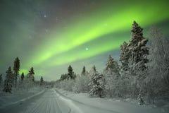 Dageraad Borealis in fins Lapland Stock Afbeeldingen