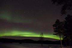 Dageraad Borealis in Inari, Lapland, Finland Royalty-vrije Stock Afbeeldingen