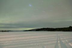 Dageraad Borealis in Inari, Lapland, Finland Royalty-vrije Stock Afbeelding