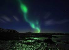 Dageraad Borealis, Noordelijke Lichten stock foto