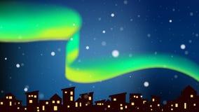 Dageraad die boven stad bij nacht met sneeuwval dansen royalty-vrije illustratie