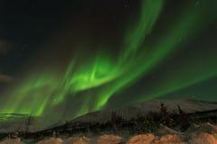Dageraad het zonneonweer in noordelijke artic cirlce royalty-vrije stock foto