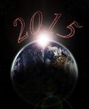 Dageraad van jaar 2015 ter wereld - Elementen van dit langs geleverde beeld stock illustratie